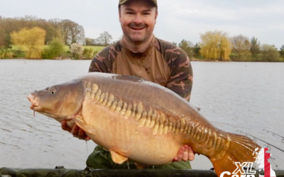 David Wilson with the first of a brace of Main Lake Carp, The Zip Linear